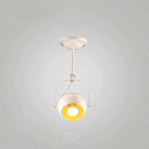 HEJU American Loft Deckenbeleuchtung Loft Bekleidungsgeschäft Unterputz Deckenleuchte Lampe Metall Scheinwerfer for Kreative Restaurant Bar Scheinwerfer (Color : White-Single head) -