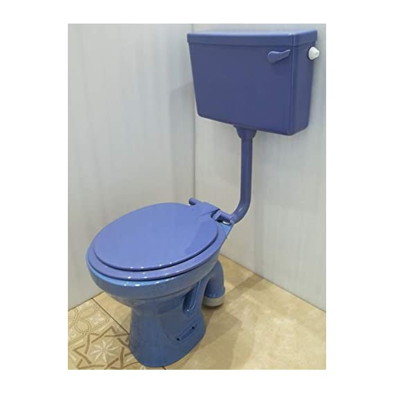 Ceramic Floor Mounted European Water Closet/Western Toilet Commode/EWC S Trap Concealed with Normal Seat Cover- Blue & Premium Normal Flush Flush Tank Combo (Blue Color)