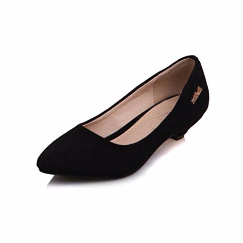 RFF-Women's Shoes Damen Pumps/Geschlossene Ballerinas/Riemchenpumps/Der Big Size Damen Schuhe, Metallteile, Flache Schuhe, Heel Pumps Damen Schuhe, schwarz, 42