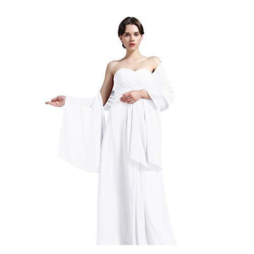 Damenschal aus Chiffon, für Brautjungfern Hochzeit Party Abendkleid, Shawl-01-Ivory, Elfenbein,  - Elfenbeinfarben - Gr. Ivory -