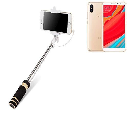 K-S-Trade Selfie Stick palillo Compatible con Xiaomi Redmi S2, Negro, Monopod, mástil telescópico, autorretrato
