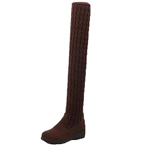 38 , Brown : Womens Knitting Cotton Long Boots , YOYOUG Womens Winter knitting Med Wedges Knee-High Stretchy Boots Shoes