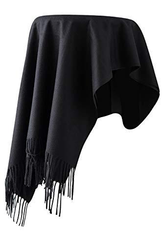 Dolamen Unisex Damen Herren Schal Schlauchschal mit Fransen, Winter Feinstrick Halstücher Stolen Umschlagtücher Schal, Warmes Halstuch für Business (78.74 * 27.56 zoll (200cm*70cm), Schwarz) -
