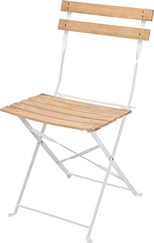Holz Klappstuhl - weiß - Bistrostuhl Biergartenstuhl Deko Stuhl Gartenstuhl Metall