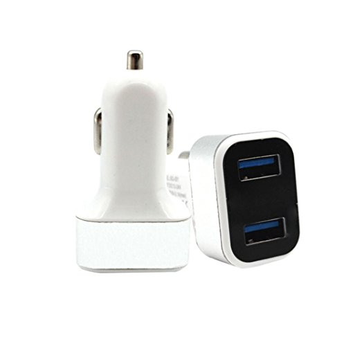 Xshuai Auto Ladegerät 4.2A Aluminium Durable Square Dual USB Car Charger für iPhone Samsung HTC Huawei und Alle USB Kabel (Silber) Dual-power-accessoire