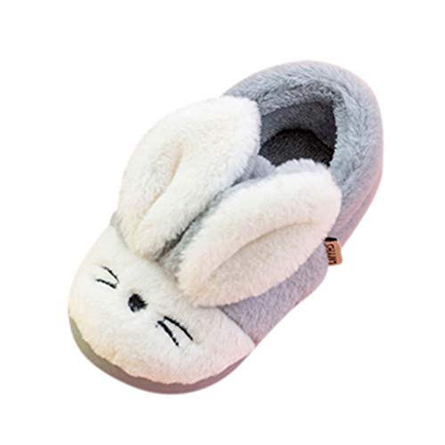 Mokids Toddler Infant Kids Baby Winter Warm Slippers Non-Slip Floor Home Slippers Girls Cute Cartoon Rabbit First Walking Shoes for 1-10 Years Old