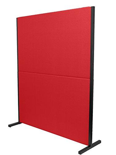 PIQUERAS Y CRESPO Modelo Valdeganga - Biombo separador para oficinas y centros de trabajo, desmontable y con estructura de color negro - Tapizado en tejido ARAN color rojo