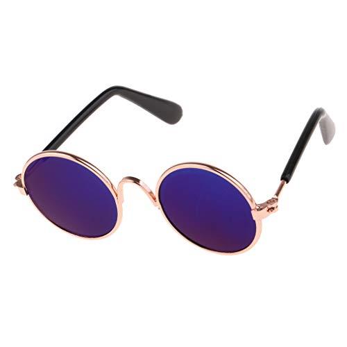 Fenteer 1 Paar Süße Rundform Brillen Sonnenbrillen Für 1/6 Blythe, BJD Puppen Bekleidung Zubehör - Blau