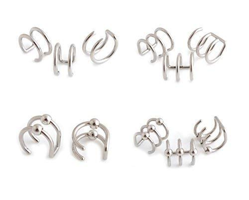 Vault 101 Limited Ohrklemme Helix Ohr Ring Fake Clip Manschetten Wickel Ober - Uni - Doppel Manschette -