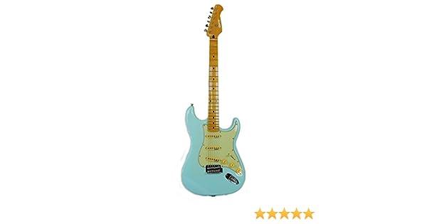 guitare electrique modele memphis deluxe strat style bleu ciel 6 cordes marque deposee quincy