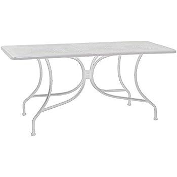Tavolo Giardino Ferro Bianco.Adami Tavolo Rettangolare Da Giardino 160x80 Cm In Ferro Ivrea