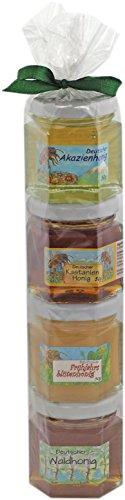 Honig Geschenk Set aus dem Allgäu - 4 x 50g Honig aus Deutschland in der Geschenkrolle - Perfektes Geschenk für Honig Liebhaber - Herkunft garantiert aus Deutschland