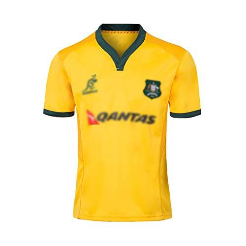 MINGDIAN Rugby Jersey, 2018-19 Australian Rugby Kleidung Herren Und Damen V-Ausschnitt Sommer Casual T-Shirts (Size : S)