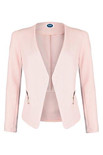 4tuality AO Blazer kragenlos mit Zipper rosa Gr. XL