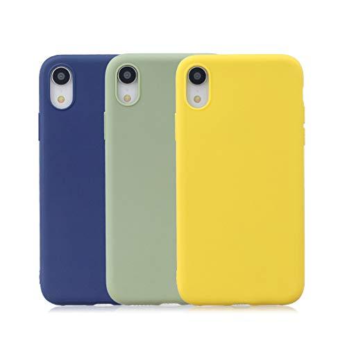 Rongecr 3x Reine Farbe Hülle für iPhone XR, Weiches TPU-Silikon Ultra Dünn Flexibel Anti-Rutsch Soft Silicone Case [Verblasstes Grün + Saphirblau + Hellgelb] -