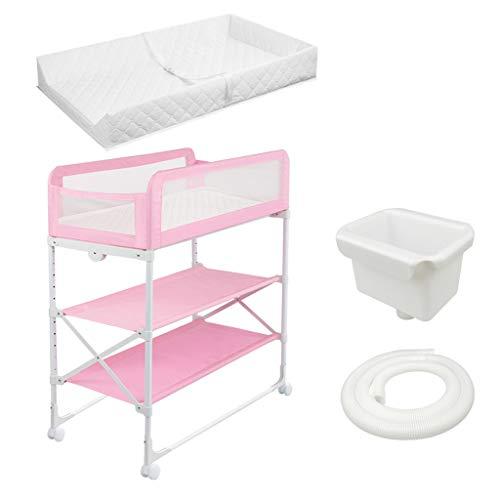 Baby Windel Wickeltisch Faltbare Regal Wäscheständer, Stationäre Silent Universal Wheel, Geeignet für 0-3 Jahre Altes Baby, Erhöhung Zaun