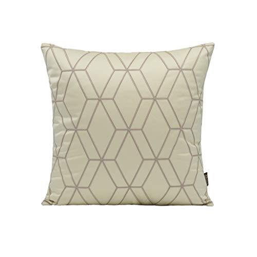 LGZW Kissen, Schlanke Minimalistische Moderne Beige Geometrisches Muster Schlafzimmer Satin Square Kissen Kissen, Sofa Schlafzimmer Schaukelstuhl Plüsch Quadrat Kissen -