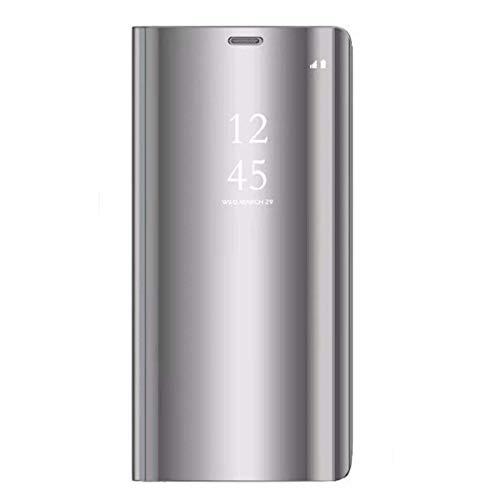 Alsoar kompatibel/ersatz für Oppo Reno 5G Mirror Clear View Hülle, 360° Full body Oppo Reno 5G Spiegel Schutzhülle PU Flip Handyhülle Make-Up mit Faltbare Standfunktion Klar Leder Cover (Silber)