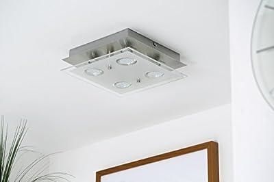 LED-Decken-leuchte / Decken-lampe / Wohnzimmer-leuchte / GU10 / 4 x 3 Watt / 4 x 250 Lumen / Glas teilsatiniert / eckig / matt-nickel von B.K.Licht
