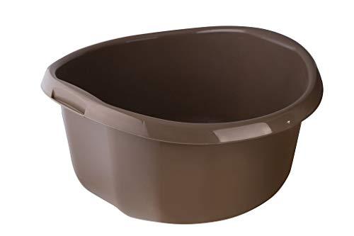 KADAX Runde Kunststoffschüssel. Becken tief und robust. Schüssel, Waschschüssel, Spülwanne Groß Eignet Sich hervorragend für das Badezimmer, den Waschraum, die Küche und das Haus (Braun, 30L)