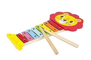 Iwood- Xilófono Infantil de Madera Diseño: León, Multicolor (13010)