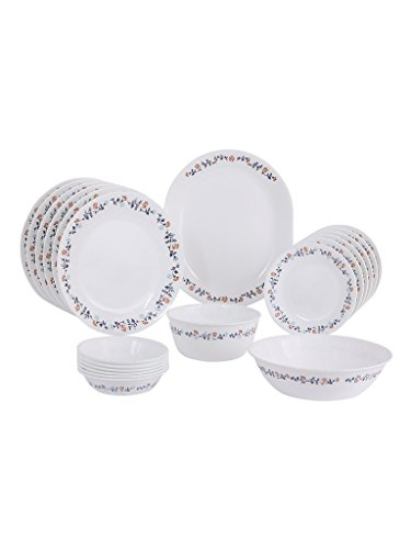 Corelle Livingware Plus Vibrant Gloria Glass Dinner Set, 21-Pieces, Multicolour