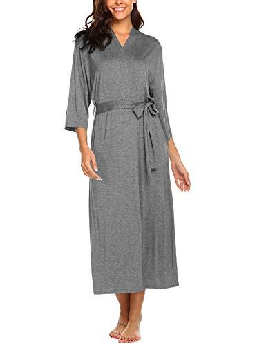 Morgenmantel Bademantel Sexy Sommer Jersey Robe Saunamantel mit Bindegürtel Frauen weich V Ausschnitt schlafmantel Pyjama Kimono - Baumwolle Lange Robe