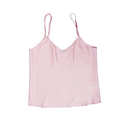 Jasmine Silk Pura seta Canotta Chemise maglia della parte superiore Rosa (L)