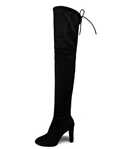 Minetom Damen Elegante Mode Winterschuhe High Heels mit Warm Gefüttert Plüsch Anti Rutsch Sohle Hohe Stiefel Boots Schnürschuhe Schwarz EU 35
