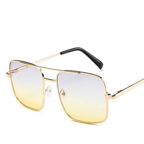 MJDABAOFA Sonnenbrillen Fashion Square Männer Oversize Fahren Cool Grau Gelb (Sonne Brille Männlich Retro Vintage Übergröße Schattierungen Weiblichen Brillen