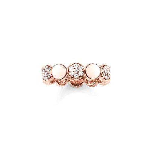 Thomas Sabo Damen-Ring Glam & Soul 925 Sterling Silber 750 rosegold vergoldet Zirkonia weiß Gr. 54 (17.2) TR2048-416-14-54