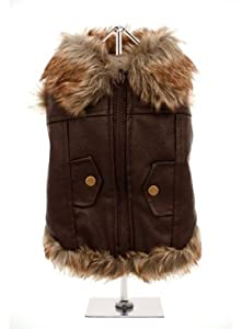 """UrbanPup Luxury Brown Leather and Fur Lined Coat (X-Large - Dog Body Length: 16"""" / 40cm) by UrbanPup"""