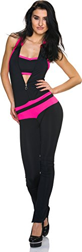 Damen Overall Anzug Hausanzug Jumpsuit Bodysuit Einteiler Reißverschluss Lang Hosenanzug Neon Pink 38/40