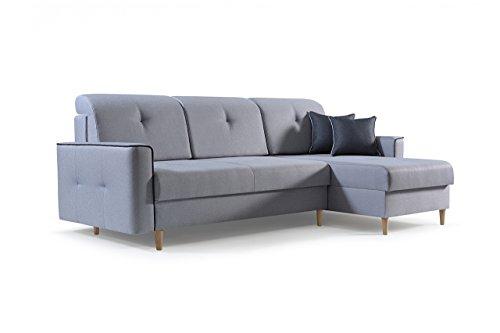 mb-moebel Ecksofa Sofa Eckcouch Couch mit Schlaffunktion und Bettkasten Ottomane L-Form Schlafsofa Bettsofa Polstergarnitur MIKA (Hellgrau, Ecksofa Rechts)