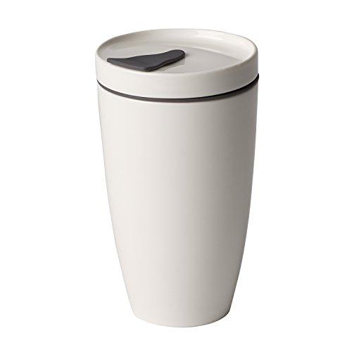 Villeroy & Boch To Go Coffee-to-Go-Becher, 2-teilig, 350 ml, Premium Porzellan/Silikon, Weiß