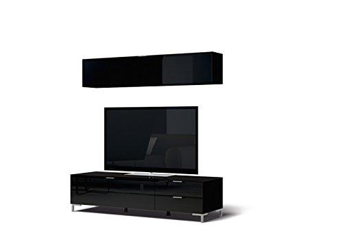 CS Schmalmöbel 45.102.507/049 TV-Board Cleo Typ 12 + Hängeregal, 163 x 50 x 175 cm, schwarz / schwarzglas