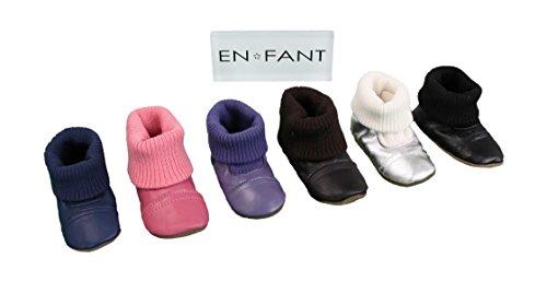 EN-FANT mixte chaussons chaussettes en cuir, marron chocolat, taille 18, 810170U-03 rose vif