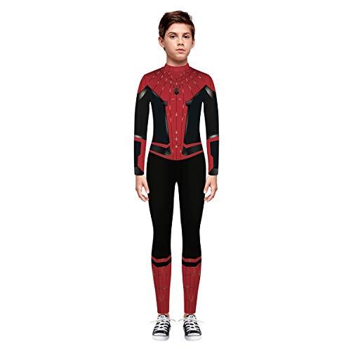 Leezeshaw Unisex Mädchen Jungen Superhelden-Kostüm Kids 3D Spider Iron Man Print Langarm Skinny Catsuit Halloween Cosplay Jumpsuit Unitard (Teenager Mädchen Spiderman Kostüm)