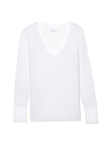 Intimissimi Damen Langarm-Shirt aus Modal mit Spitzeneinsätzen Weiß - 7478