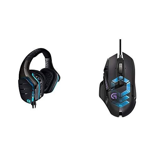 Logitech G633 Artemis Spectrum Pro Wired Gaming-Headset (7.1 Dolby Surround Sound für PC, Xbox One und PS4) schwarz & LogitechG502 ProteusSpectrum Gaming-Mausschwarz -