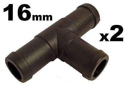 227s - Deux raccords de tuyaux - en T - tuyaux d'eau/carburant/reniflard - résistant à des températures entre -30 et + 140 °C - 16 mm