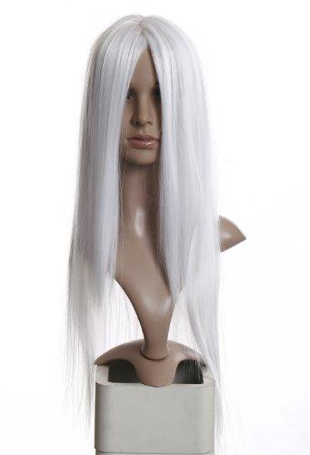Gandalf Einfach Kostüm - Prettyland C875-80cm lange Damen Perücke Mittelscheitel Wig Cosplay Hitzefest Weiß Schneeweiß