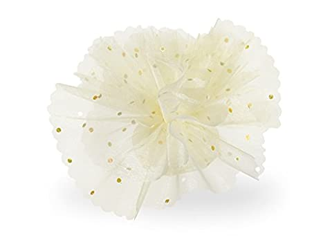 Circle Cream Organza with Glitter Dots Tulle Bonbonniere Guest Gift Gold (Pack of 100)
