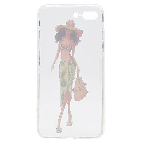 iPhone 7 Plus 5.5 Hülle, Voguecase Silikon Schutzhülle / Case / Cover / Hülle / TPU Gel Skin für Apple iPhone 7 Plus 5.5(Wellenpunkt Mädchen) + Gratis Universal Eingabestift Bikini Mädchen