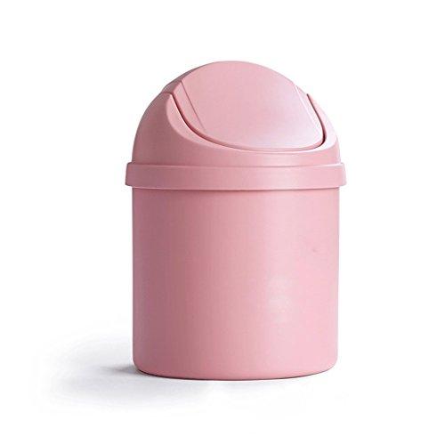 LYL Creative Desktop trash can lid mini salon chambre à coucher lit bébé créatif petit ménage (13,5 * 20 Cm) (Couleur : Rose)
