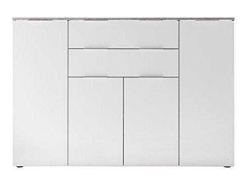 trendteam smart living Wohnzimmer Sideboard Kommode Schrank Viva, 148 x 103 x 40 cm in Korpus Beton Stone Dekor, Front Weiß Hochglanz mit viel Stauraum