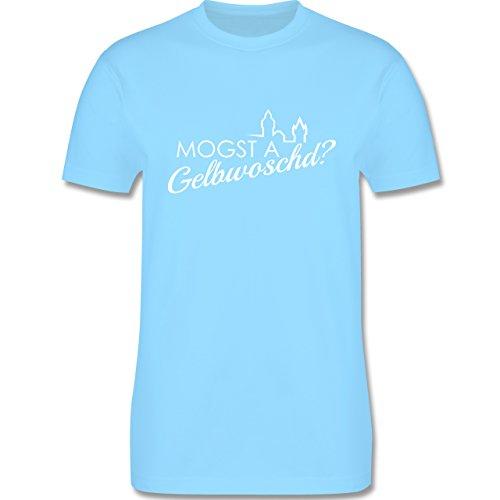 Städte - Mogsd a Gelbwoschd - Franken Hommage - Herren Premium T-Shirt Hellblau