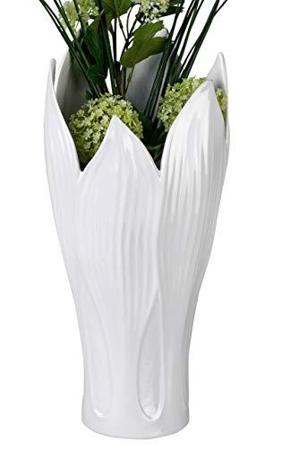 Formano Wunderschöne Deko Vase Blumenvase Tischvase Blatt aus Keramik weiß Höhe 36 cm