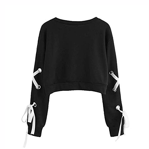 Frauen Casual Lace up Langarm Pullover Crop Top Solid Sweatshirt MYMYG Casual Lace Langarm Pullover Top Solid Color Sport Sweatshirt Damen (Schwarz,EU:42/CN-2XL)