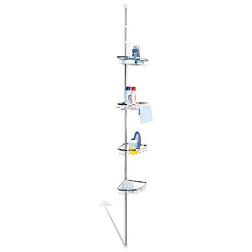 Hochwertiges Edelstahl Teleskop-Eckregal, Teleskop-Stange bis max. ca. 290 cm